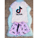 Pijama scurta Tik Tok roz