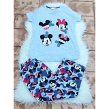 Pijama dama Sweet Mickey si Minnie gri