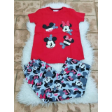 Pijama dama Sweet Mickey si Minnie rosu