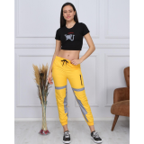 Set Top si Pantaloni Fosforescenti Love mustar