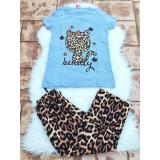 Pijama dama Kitty leopard gri