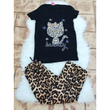 Pijama dama Kitty leopard negru
