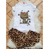 Pijama dama Kitty leopard alb