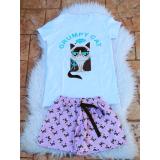 Pijama scurta Grumpy Cat alb