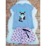 Pijama scurta Grumpy Cat gri