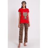Pijama dama Kitty leopard rosu