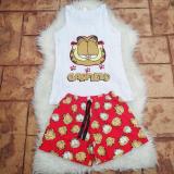 Pijama scurta Garfield alb-rosu