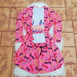 Pijamale 3 piese Barbie alb
