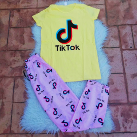 Pijama dama Tik Tok galben