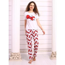 Pijama dama Bow Kitty Alb