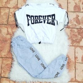 Set 2 piese Top si Pantaloni Forever Love