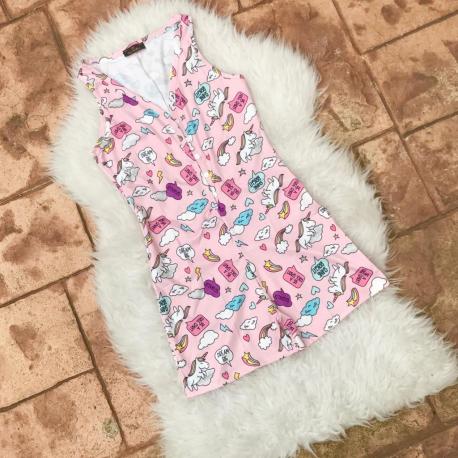 Pijama scurta tip salopeta Unicorn