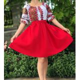 Rochie scurta cu motive traditionale Zina rosu