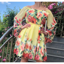 Rochie clos din voal Florance galben
