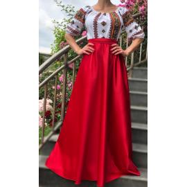 Rochie lunga cu motive geometrice Bianca rosu