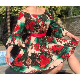 Rochie scurta cu imprimeu floral Coralia