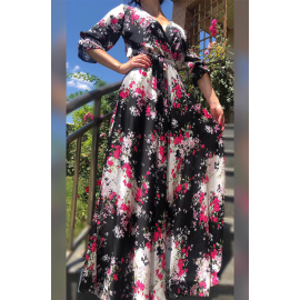 Rochie lunga neagra cu model floral Yarina
