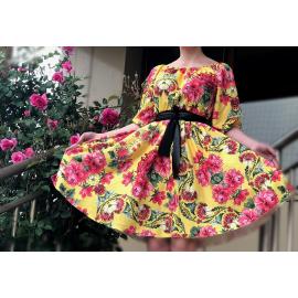 Rochie scurta model floral Renata galben