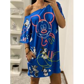 Rochie scurta cu desene Epic Mickey albastru
