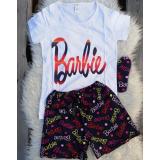 Pijama scurta Barbie Alb