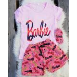 Pijama scurta Barbie roz