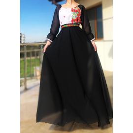 Rochie lunga cu motive Florale Estera negru