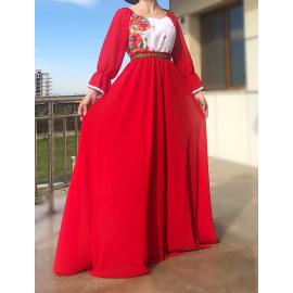 Rochie lunga cu motive Florale Estera rosu