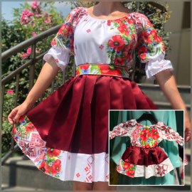 Set rochii Mama-Fiica cu motive florale Amelia bordo