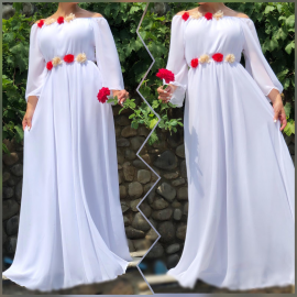 Rochie lunga din voal cu detalii florale Valeria alb