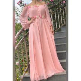 Rochie lunga din voal cu detalii florale Valeria roz