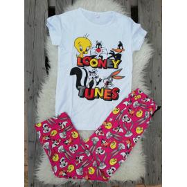 Pijama dama Junior Looney Toons alb