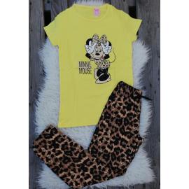 Pijama dama Leopard Cool Minnie galben
