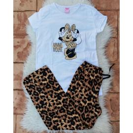 Pijama dama Leopard Cool Minnie alb