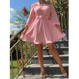 Rochie scurta din voal cu detalii florale Valeria roz