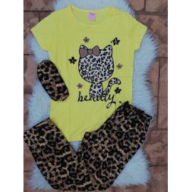 Pijama dama Kitty leopard galben