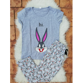 Pijama dama Bugs bunny Hi alb