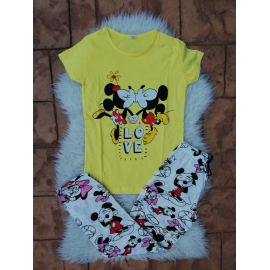 Pijama dama Kiss Minnie si Mickey Galben