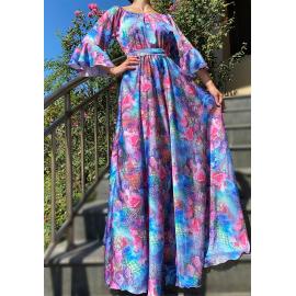 Rochie lunga din satin cu imprimeu floral Riviera