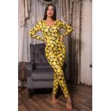 Pijama dama tip salopeta Tweety galben