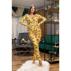 Pijama dama tip salopeta Mickey galben