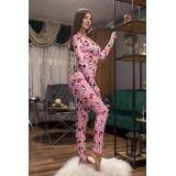 Pijama dama tip salopeta Minnie roz