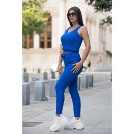 Compleu 3 piese din tricot Mona albastru