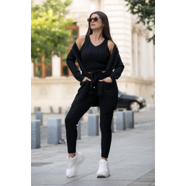 Compleu 3 piese din tricot Mona negru