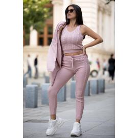 Compleu 3 piese din tricot Mona roz