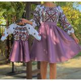 Set rochii Mama-Fiica cu motive geometrice Eva scurta