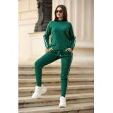 Trening verde din tricot cu dungi