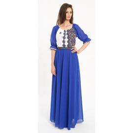 Rochie lunga cu motive traditionale Ivona albastru