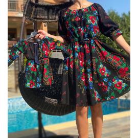 Set rochii Mama-Fiica cu imprimeu Gipsy Rosa negru