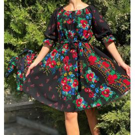 Rochie clos negru cu imprimeu Gipsy Rosa