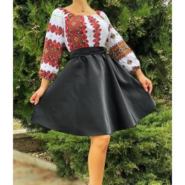 Rochie scurta cu motive traditionale Zina negru